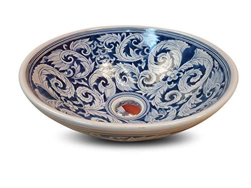 Keramische wastafel SUKHUMVIT - Ø 41,5 cm waskom met handgeschilderd motief Koi karper Aziatisch 16x41,5x41,5cm variant 2