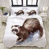 Set copripiumino, furetto dell'acquerello mano roditore di animali selvatici, set biancheria da letto decorativo colorato 3 pezzi con 2 federe per cuscino