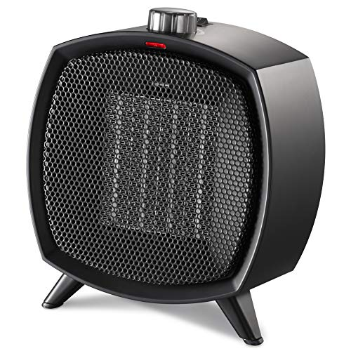 HOME_CHOICE Ceramic Space Heater Electric Portable Heater Fan with Adjustable Thermostat and Overheat Protection ETL Listed for Home Office and Kitchen Indoor Use,750W/1500W (Black) Electric heaters Space