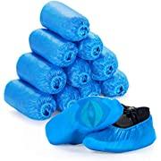Squish Shoe Covers Disposable, 100 Pack (50 pairs) One Size Fits All, Resistant, Anti-Slip, Waterproof Shoe & Boot Covers for Medical, Construction, Offices, Indoor Floor Carpet Protection (Blue)