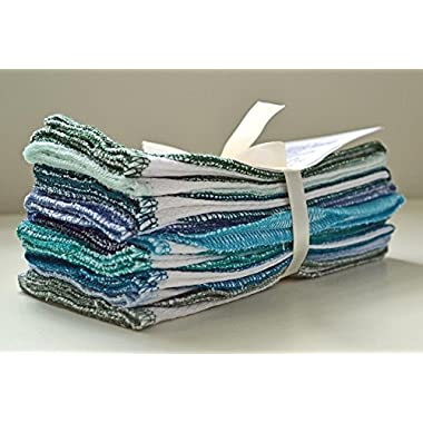 Paperless Towels, 1-Ply, Made from White Cotton Birdseye Fabric - 11x12 inches (28x30.5 cm) Set of 10 in Assorted Blues and Greens