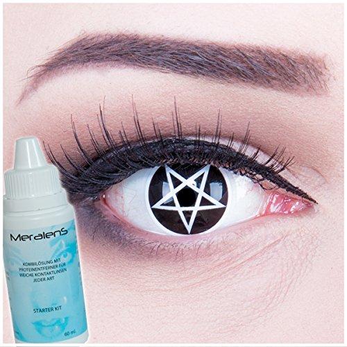 Meralens mehrfarbige Kontaktlinsen, Pentagram mit Pflegemittel ohne Stärke, 1er Pack (1 x 2 Stück)