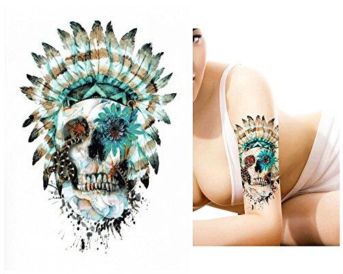 Tatuajes temporales Tempo rary Tattoo Fake Tattoo–Calavera de plumas de