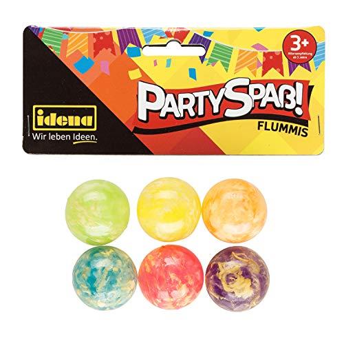 Idena 40434 Partyspaß Flummis, 6 Stück, in leuchtendem pink, lila, blau, grün, gelb und orange, aus stabilem Hartgummi, Durchmesser ca. 3 cm