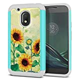 FINCIBO Case Compatible with Motorola Moto G4 Play 5 inch XT1607 XT1609, Dual Layer Football Skin Hybrid Protector Case Cover Anti-Shock TPU for Moto G4 Play (NOT FIT Moto G4) - Sunflowers Flowers