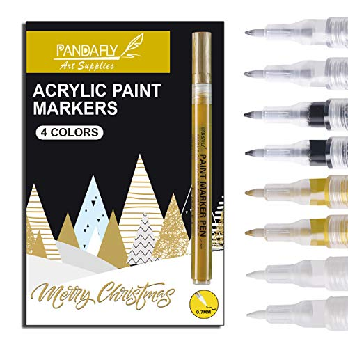 PANDAFLY Acrylic Paint Pens for Rock Painting, Stone, Ceramic, Wine Glass, Wood, Fabric, Canvas, Metal. Set of 8, 2 White 2 Gold 2 Silver and 2 Black Acrylic Paint Markers Extra-Fine Tip 0.7mm