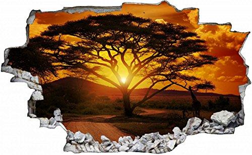 Baum Safari Sonnenuntergang Savanne Wandtattoo Wandsticker Wandaufkleber C0302 Größe 40 cm x 60 cm
