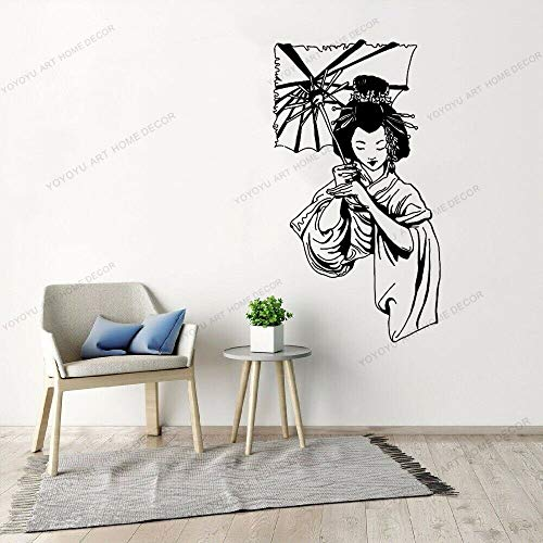Dwzfme Adhesivos Pared Pegatinas de Pared Paraguas de niña Japonesa, decoración del hogar de Vinilo, Pegatinas de Geisha de Estilo asiático, Mural Interior extraíble 57x103cm