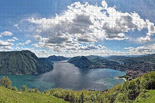 Rompecabezas para Adultos Lago Lugano Suiza Rompecabezas 1000 Piezas Regalo de Recuerdo de Viaje de Madera