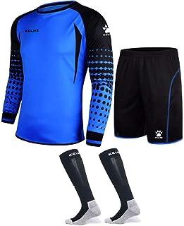 KELME, Conjunto de uniforme de portero – incluye jersey, pantalones cortos y calcetines – almohadillas de protección en pantalones cortos y camisa, tallas para niños y adultos