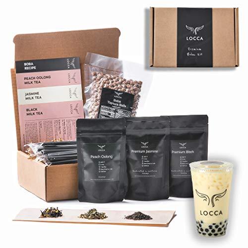 Locca Boba Tea Kit 24+ Bubble Teas | Organic Peach Oolong Tea, Jasmine Tea, Black Tea | Loose Leaf Teas | Vegan & Gluten Free Boba Drink | Vivante