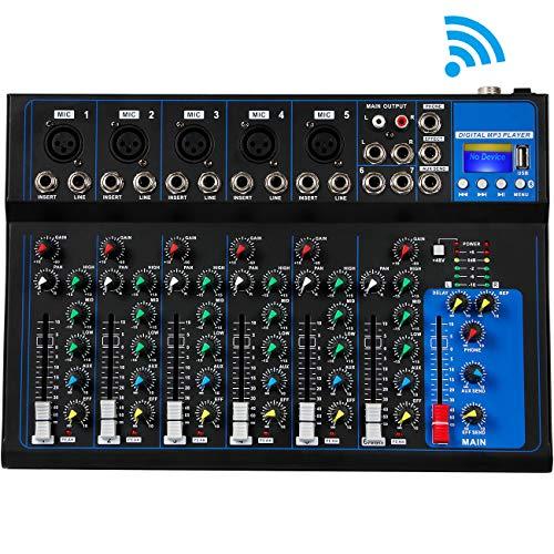 Depusheng 7-Kanal USB Digital Mikrofon Sound Mixer Konsole 48V Phantomspeisung Professional Karaoke Audio Mixer Verstärker mit Bluetooth