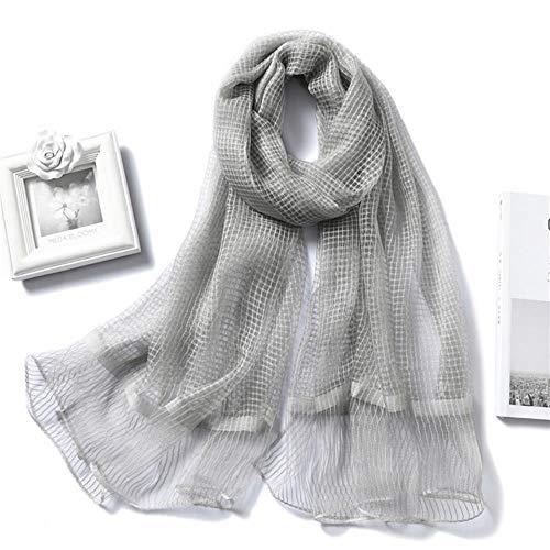 QVC Women Scarf Feeling Organza Plaid solid Color Shawls Wraps Lady hijabs Transparent Headband Foulard,Gray