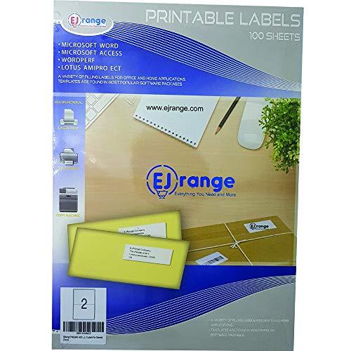 Premium Easy Peel afneembare adressticker 2 Etikett pro Blatt 100 vellen.