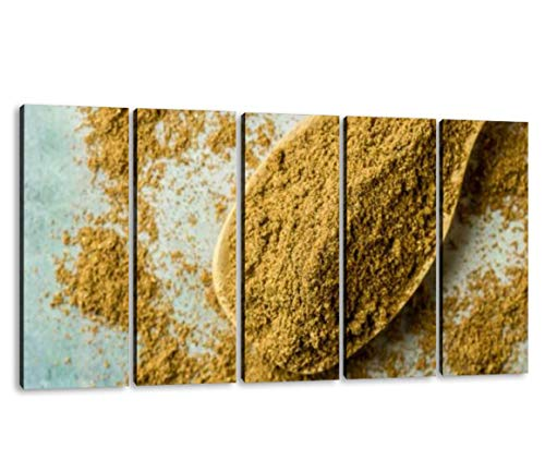 KiiAmy 5 Panels Art Wall Decor Garam Masala Powder Artwork Modern Canvas Prints Office Bedroom Home Decor Framed Painting Ready to Hang (60''Wx32''H)