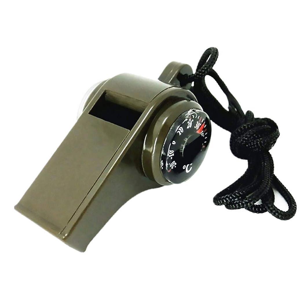 オアシス振動させる動Snner ホイッスル 防災 呼び子 緊急用 温度計 コンパス 3in1 笛 アウトドア 野外対策 多機能