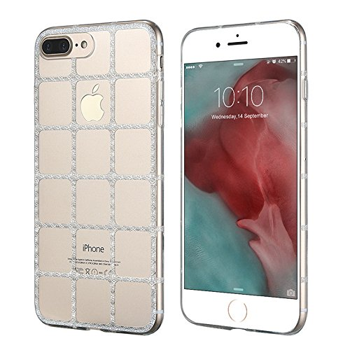 Lujo Glitter Caso Para el iPhone 7 Transparente Claro Suave TPU Girly Slim Cover Bling Grid Shell 4.7 pulgadas