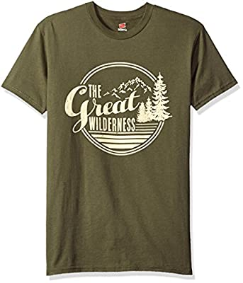 Hanes Men's Graphic Tee-Rugged Outdoor Collection, the Great Wilderness Fatigue Green, XX-Large