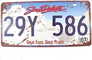 Vintage Feel Rustic License Plate Souvenir Metal Tin Sign Plaque (South Dakota 29Y 586) Fun tin Sign bar Tavern Garage Dinner Cafe Home Wall Decorator Art Deco Poster