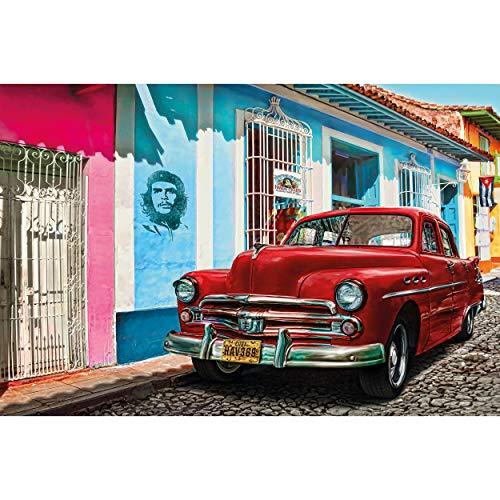 GREAT ART Fotomurale – Cuba – Decorazione da Parete Oldtimer Macchina L'Avana Patrimonio Mondiale Red Car La Habana Vieja Città Che Guevara Carta da Parati 210 x 140 cm