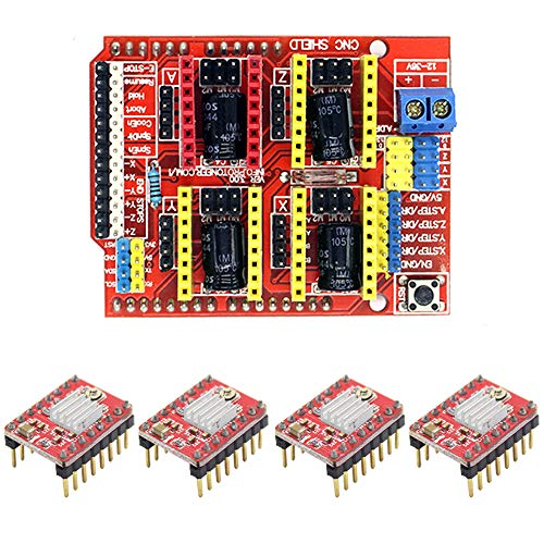 CNC Shield V3.0 Expansion Board & 4pcs A4988 Stepper Motor Driver with Heatsink for Arduino V3 Engraver 3D Printer Machine