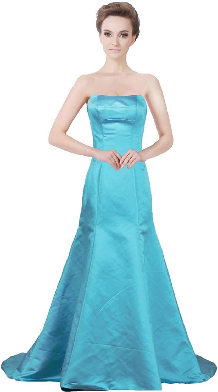 ANTS Women's Mermaid Long Evening Dresses Simple Prom Gown 2017 Size 2 US bluee