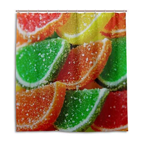 Yushg Bad Duschvorhang für Kinder Gelee Marmelade Sweet Candy Zucker leckere Farbe Bad Vorhang wasserdicht 66 x 72 Zoll maschinenwaschbar wasserdicht Badezimmer Vorhänge