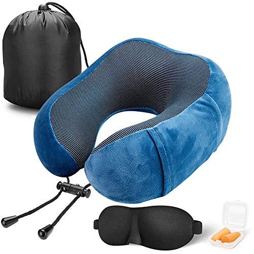 Almohada de Viaje Viscoelástica de Espuma de Memoria, Cervical Orthopedic Pillow Almohada de Cuello para el tren de avión viajes con máscara de Ojos(Blue)