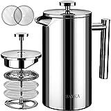 BAYKA フレンチプレスコーヒーメーカー ステンレススチール 50オンス 二重壁 金属断熱 コーヒーティーメーカー 4段階ろ過システム 錆びない 食器洗い機対応
