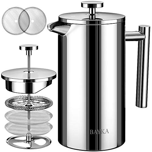 BAYKA French Press Coffee Maker, Stainless Steel 50oz Double-Wall Metal Insulated Coffee Tea Makers with 4 Level Filtration System, Rust-Free, Dishwasher Safe