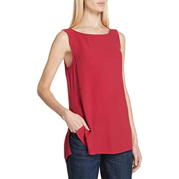 Eileen Fisher Plus Radish Silk Georgette Crepe Bateau Neck Long Shell Size 2X MSRP 238