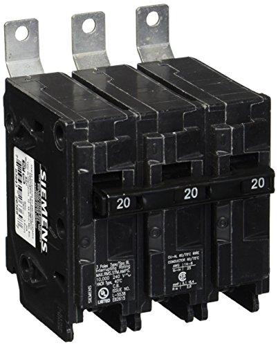 Siemens B320 20-Amp Three Pole 240-Volt 10KAIC Bolt in Breaker, Black