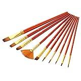P12cheng Juego de 10 pinceles de dibujo de nailon y acrílico, para acuarela, color rojo