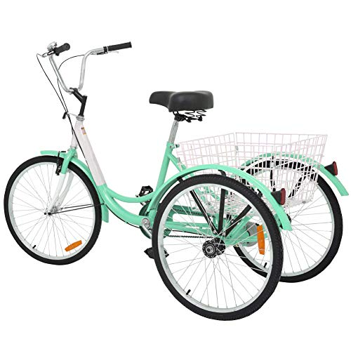 Slsy Adult Tricycles Single Speed, Adult Trikes 20/24 / 26 inch 3 Wheel Bikes, Three-Wheeled Bicycles Cruise Trike with Shopping Basket for Seniors, Women, Men. (Apple Green, 20' Wheels/ 1-Speed)