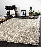 the carpet Port Moderner Hochflor Shaggy Wohnzimmer Teppich Soft Garn Einfarbig Creme Größe: 80x140 cm