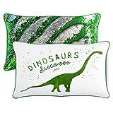 Dinosaur Pillow Cover + Insert w/Green & Silver Flip Sequins