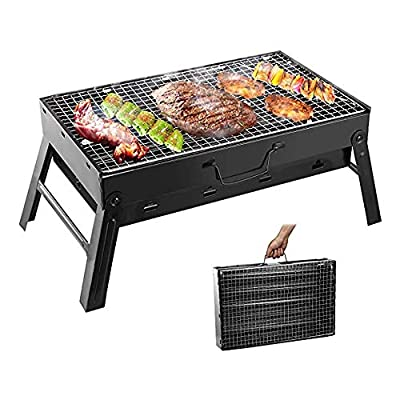 Folding Portable Barbecue Charcoal Grill BBQ &Stainless Steel Grill Tabletop Outdoor Smoker BBQ for Picnic Garden Terrace Camping Travel (Small)