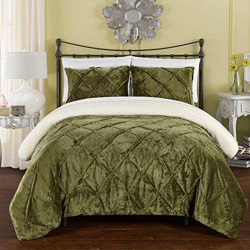 Chic Home CS5115-AN 3 Piece Josepha Pinch Pleated Ruffled And Pin Tuck Sherpa Lined Bed In A Bag Comforter Set, King, Green