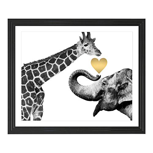 Eleville 8X10 Giraffe and Elephant Love Real Gold Foil Art Print (Unframed) Funny Artwork Funky Prints Home Wall Art Motivational Poster Holiday Birthday Wedding WG125