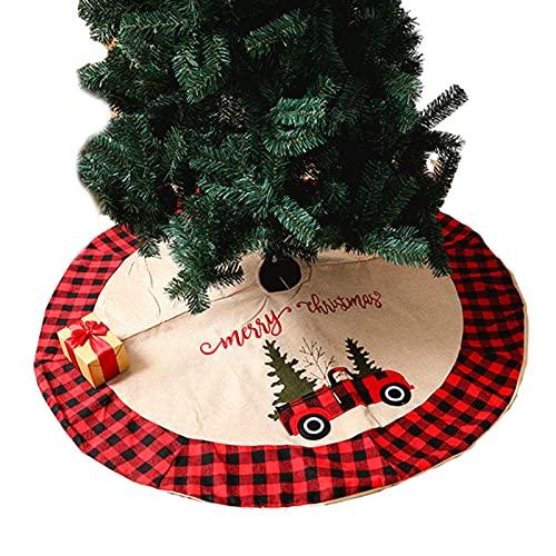 Angel&H 4 Pies Cubierta Inferior de Falda de Árbol A Cuadros Navideños, Lino A Cuadros Rojo Decorado con Flores de Patrón de Coche, Decoración Navideña de Alfombra de Árbol de Navidad