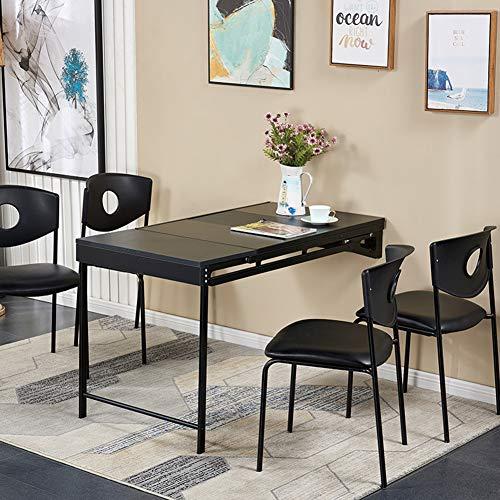 QFF@ Mesa de trabajo multifuncional 2 en 1 de madera maciza con marco de metal, para espacios pequenos, ideal como complemento perfecto, negro, 120*60*75cm