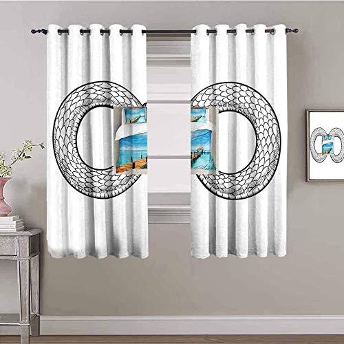 ZLYYH Ventanas Con Cortinas Simple negro círculo patrón 229x229cm Cortinas Dormitorio Opacas Suaves con Ojales Térmicas Aislantes Resistente a la Suciedad Rayos UV 2 Piezas Proteger Su Privacidad