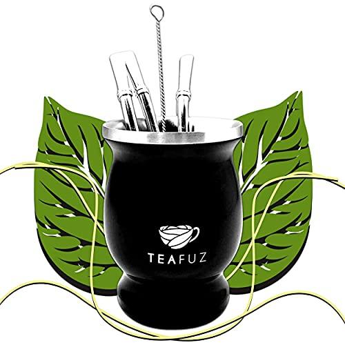 TeaFuz - Taza de Mate, Juego de Yerba Verde + Bombilla y Cepillo, Taza Argentina, Té Verde Orgánico, Botella Termal Brasileña, Caja de Plata, Kit de Ideas de Regalo