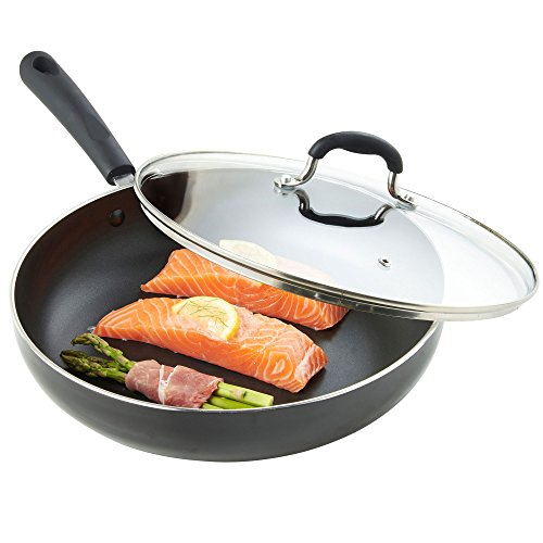 VonShef Aluminium Saute Pan 28cm / 4.3L Non-Stick with Glass Lid - Suitable for All Hobs Including Induction - Cool Touch Silicone Handle (Kitchen & Home)