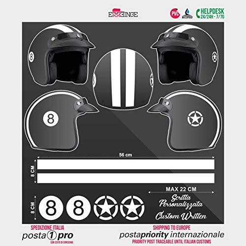 SUPERSTICKI Helm Aufkleber Set 8 Racing Streifen Motorrad Bike Motorcycle Aufkleber Bike Auto Racing Tuning aus Hochleistungsfolie Aufkleber Autoaufkleber Tuningaufkleber Hochleistungsfolie