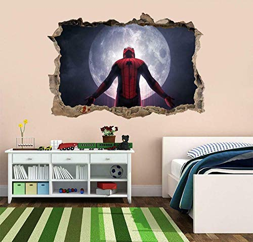 Wall Sticker Super Movie Spider 3D Smashed Wall Sticker Decal Art Mural Super Movie Hero