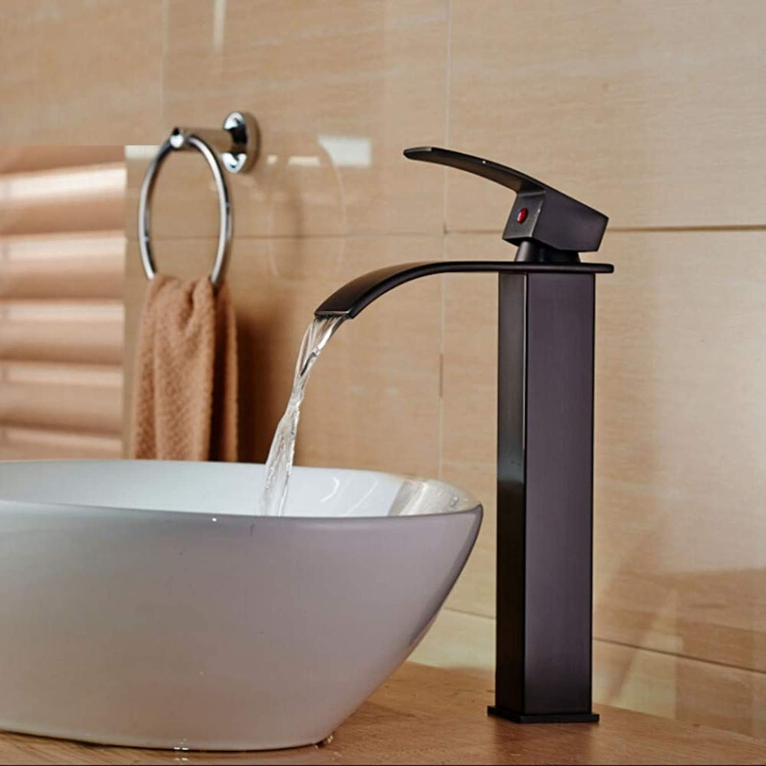 ROKTONG Oil Rubbed Bronze Countertop Waterfall Bathroom Vanity Sink Faucet Deck Mount with Hot Cold Water