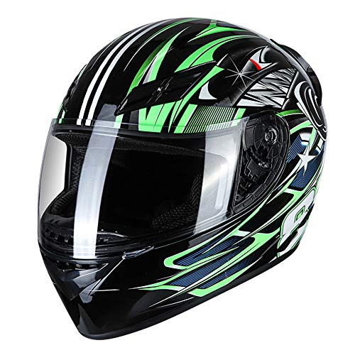 KKmoon Integralhelm Helm Motorradhelm Unisex Adult Cool Rider Ausrüstung Vier Jahreszeiten E-Bike Helm New Street Touring Motorradhelm Style C Size M Grün+Schwarz