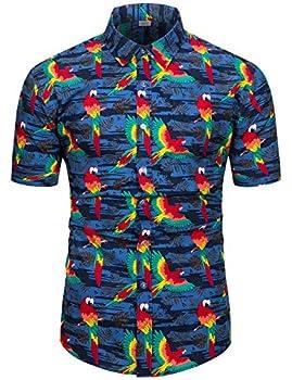 TUNEVUSE Mens Bird Print Shirt Casual Short Sleeve Button Down Tropical Bird Hawaiian Shirt Bird Print Navy XX-Large