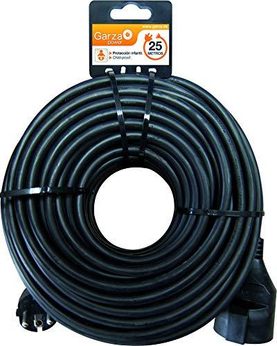 Garza ® - Cable alargador de corriente doméstico de 25 metros, negro,...